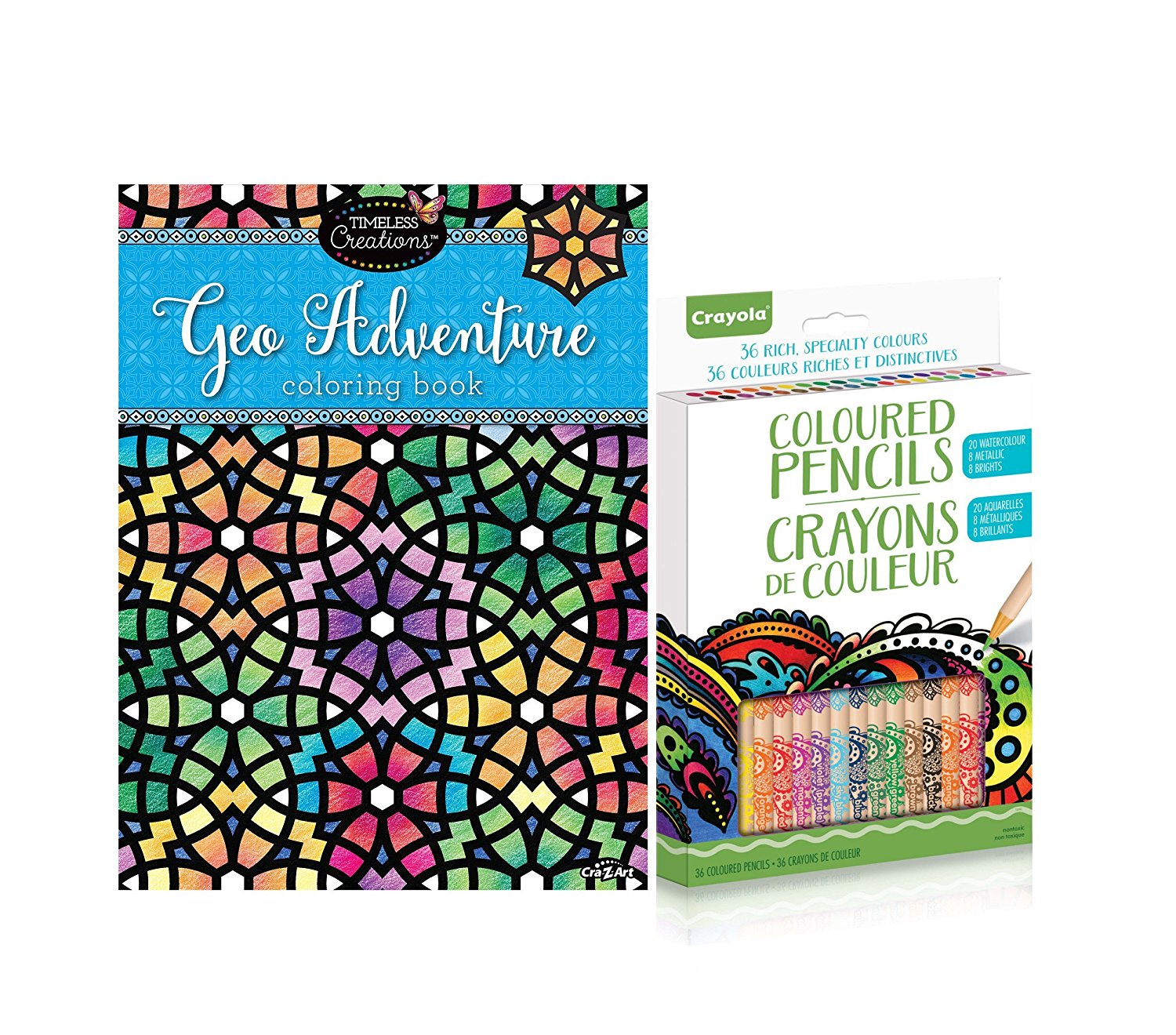 Cra Z Art Timeless Creations Adult Coloring Books With 36CT Crayola